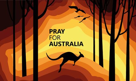 Australia fire. Social poster about climte cataclysm. Kangaroo runs from the fire on a background of the map of Australia. Vector stock illustration