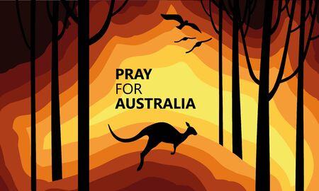 Feuer in Australien. Soziales Poster über die Klimakatastrophe. Känguru läuft vor dem Feuer auf einem Hintergrund der Karte von Australien. Vektorgrafik auf Lager