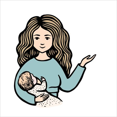 Smiling woman hold baby and point a hand. Hand drawn colorful vector stock illustration. Breast feeding. Mom on blue sweater with child.
