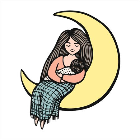 Woman holds baby and sits on the yellow moon. Hand drawn colorful vector stock illustration. Breast feeding. Mom whith child.