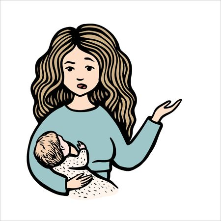 Perplexed woman holds baby and point a hand. Hand drawn colorful vector stock illustration. Breast feeding. Mom on blue sweater with child.