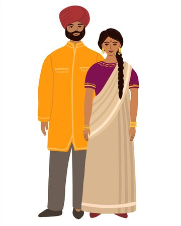 Indians flat husband and wife family. Couple Hindus standing together and cuddling. Indians Man and woman. Flat cartoon characters isolated on white background. Colored vector stock illustration.