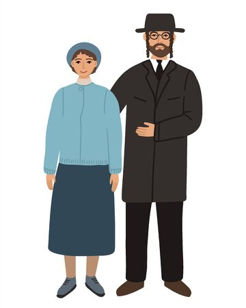 Jews flat husband and wife family. Couple Hindus standing together and cuddling. Orthodox jews Man and woman. Flat cartoon characters isolated on white background. Colored vector stock illustraion.
