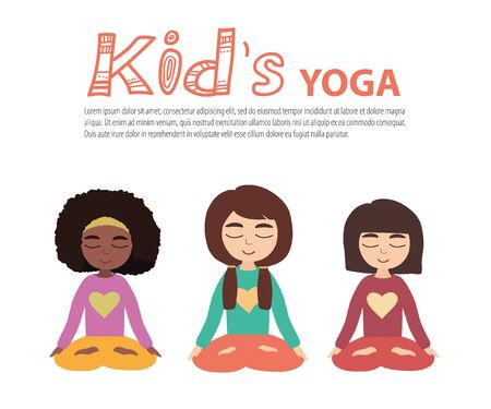Kids Yoga illustration. Young girls doing yoga in the Lotus position illustration.