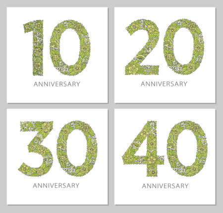 Flowers numbers cards set. Anniversary invitations. Creative vector illustration numbers 10, 20, 30, 40 design with leaves and flowers on white background.