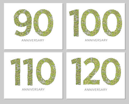 Flowers numbers cards set. Anniversary invitations. Creative vector illustration numbers 90, 100, 110, 120 design with leaves and flowers on white background.