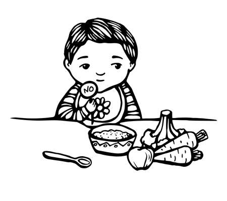 trouble first baby food. Hand drawn line illustration of baby with meal: bowl, spoon, apple, vegetables. The child refuses to eat. child unhappy with a no sign . colorful Stock vector illustration.