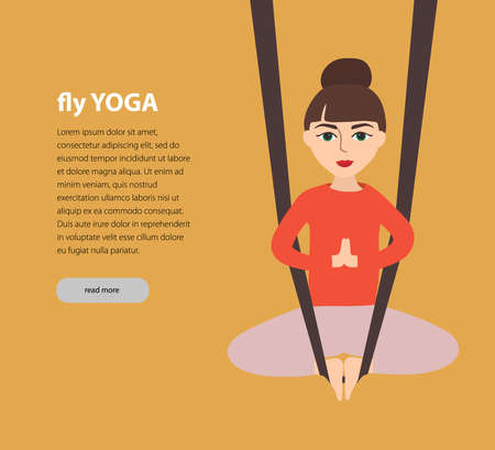 Fly yoga. Girl in the lotus position on red background . woman in meditation. flat vector illustration.