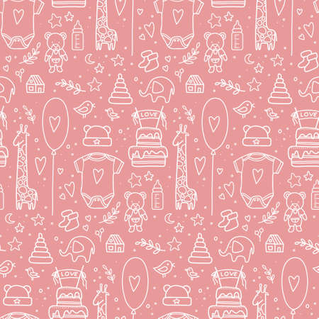 hand drawn baby seamless pattern. Vector illustration. doodle baby pattern isolated. Kid birthday pattern with balloons, flags, toys, bottle, cake, twigs, hearts, clothes, Vecteurs
