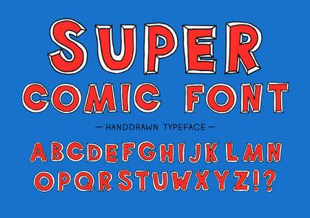 Super man comic font. Hand Drawn Vector Typeface. Hand Made handwritten Alphabet. Decorative Type. Font Vector illustration. Stock Illustratie