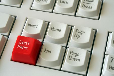 panic button: Computer con tastiera Niente panico pulsante