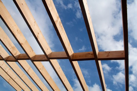 joists: Joists on a building in the process of construction Stock Photo