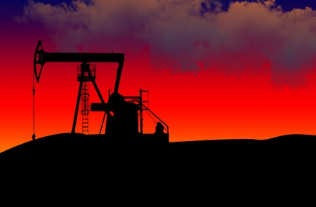 Oil pumps silhouette in the sunseth Stock Photo