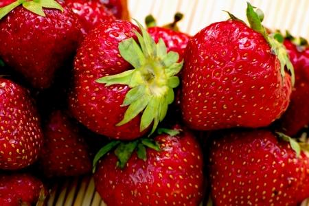 Frische Bio-rote Erdbeere