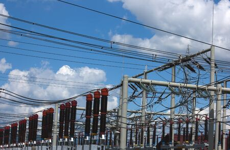 power plant station with blue sky and clouds Stock Photo