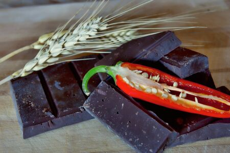 sweet chocolate with chilli and ear of wheat