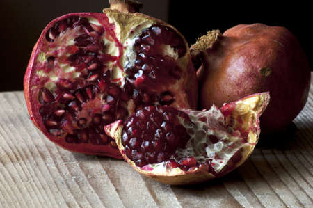 isolated core pieces of fresh pomegranate Stock Photo