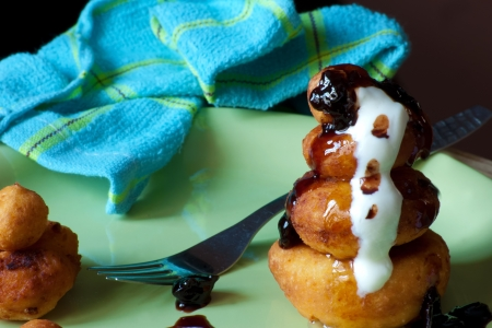 homemade cheese donuts with fruit jam