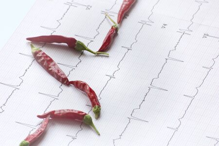 ECG evaluation and red chili suggesting the effect of spicy food Stock Photo - 17648055