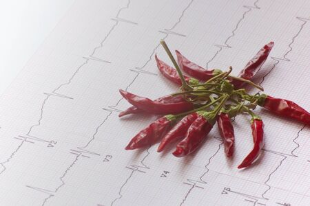 ECG evaluation and red chili suggesting the effect of spicy food Stock Photo - 17648061