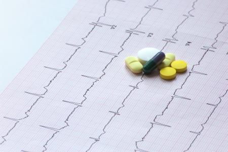 pills grouped on a ECG sheet Stock Photo - 17783700