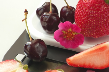 balanced diet with fresh fruits Stock Photo