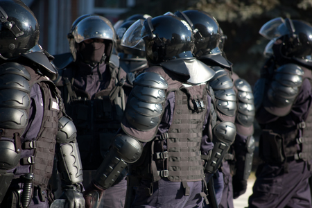 public safety: equipped special public safety forces prepared for intervention Stock Photo