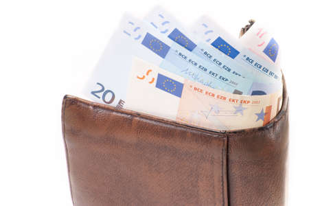 wallet with European banknote on white background Stock Photo