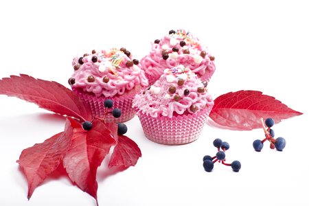 pink colored fresh muffins with different candies