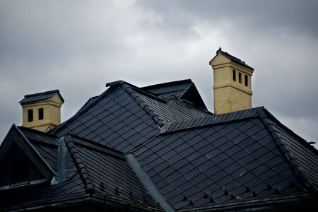 modern black tin roof with two chimney
