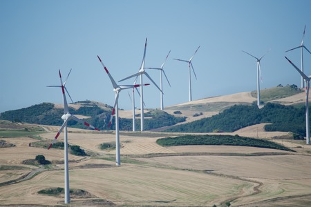 wind farm in the modern concept of renewable energy