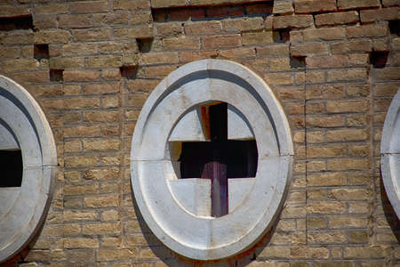 architectural detail revealing section of integrated christian cross