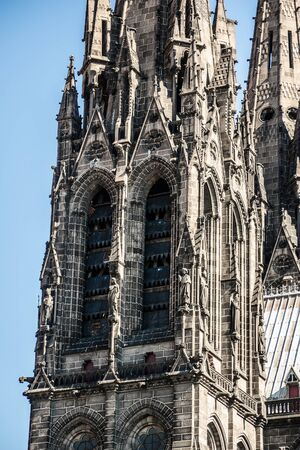 architecture monumental: architectural detail of church Notre Dame de l`Assomption from Clermont ferrard Stock Photo