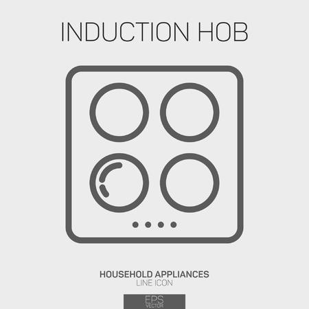 Induction Hob line icon Illustration