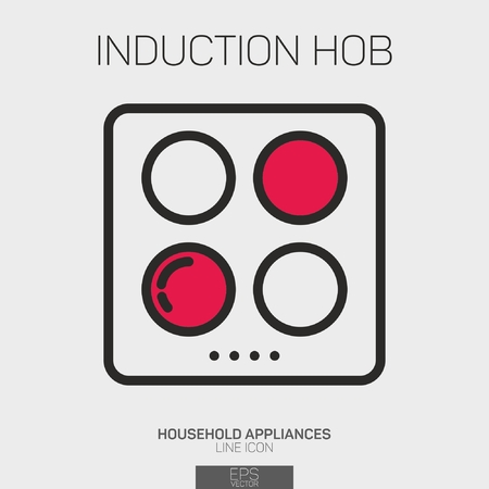 Induction Hob line icon two color