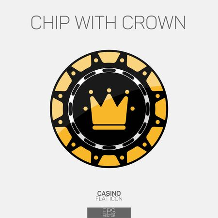 Casino chip with crown color icon