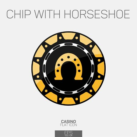 Casino chip with horsrshoe color icon 일러스트