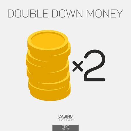 Double down coins color icon
