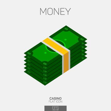 Money stack vector color icon