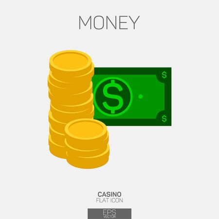 Money cash and coins color icon