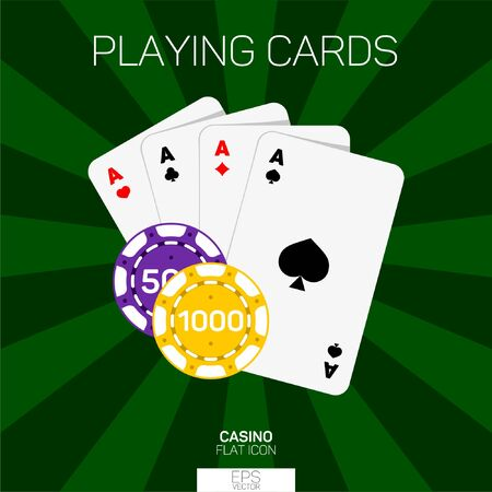 Casino playing cards and chips color icon 일러스트