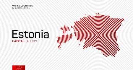 Abstract map of Estonia with red circle lines Vektorgrafik