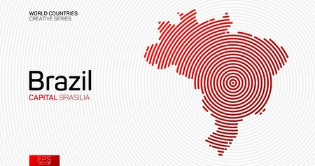 Abstract map of Brazil with red circle lines