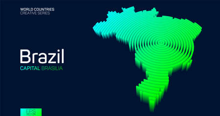 Isometric map of Brazil with neon circle lines