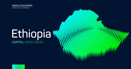 Isometric map of Ethiopia with neon circle lines