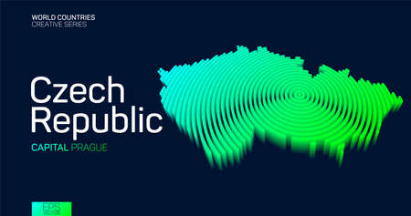 Isometric map of Czech Republic with neon circle lines 矢量图像