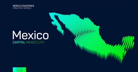Isometric map of Mexico with neon circle lines