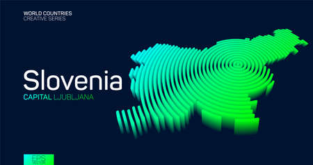 Isometric map of Slovenia with neon circle lines