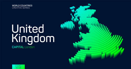 Isometric map of United Kingdom with neon circle lines