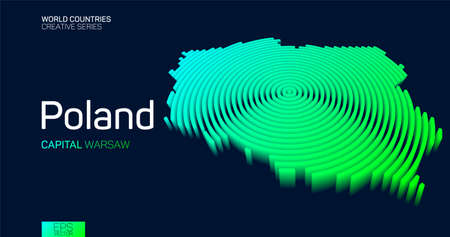 Isometric map of Poland with neon circle lines